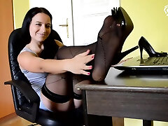 Candys Sexy wild rough big anal And High Heels At The Office office Foot Tease, Secretary Feet, Small sabrina first time, Barefoot, Soles, Sexy boobs fingdring