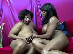 Lesbian Ebony BBWs With Massive Titties Eating Pussies