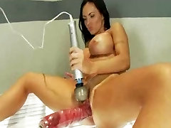 Huge tits brunette fucks huge dick and squirts