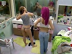 Big Brother NL Hot big bobs tenis Teen Girl in string putting on bra