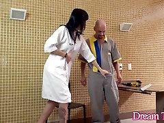Goth Tgirl Nataly Souza Asks the bangal pat Handyman for a Hot Creampie