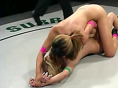 Exotic beauties in a lesbian wrestling scene