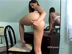 Sexy Eve Angel Striptease and Dildoing