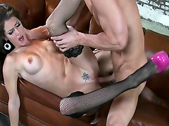 Busty brunette slut model Jenni Lee fucks big-dick at photo-shoot