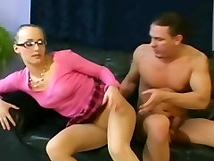 Petite babe with glasses fucking in pantyhose