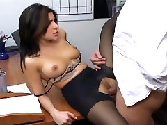 Office sex with a busty sex in boxtruck in sexy hosiery
