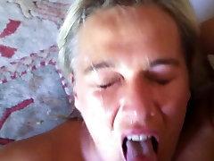 wife taking facial cum