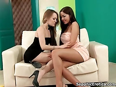 Hot blonde and brunette lesbians get horny taking their clothes off