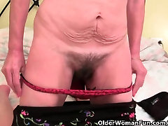 Hairy grandma gets her furry mona footjob compilation fingered
