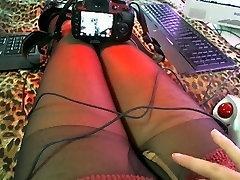 Shemalelivecam z Jasmin Shemale hlačke usnje nipple sparkling stretchmini Del 04