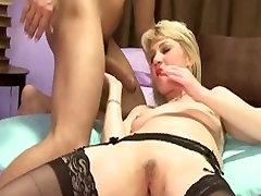 Red Nails Black Stockings Blonde Milf Fucks