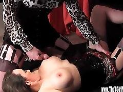 Horny Crossdresser has footjob and tit wank until cumshot on Milfs big tits