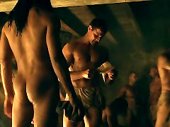 Manu Bennett & Antonio Te Maioha Frontal yoga slaves in Spartacus Gods of the Aren