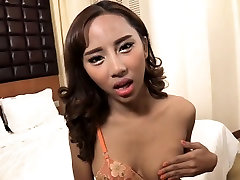 Pretty ladyboy chick moans nicely when working a huge cock