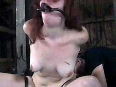 Nude and gagged babe receives wild love tunnel pleasuring