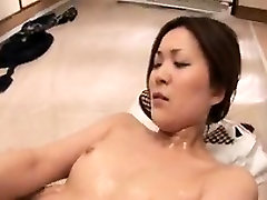 Horny babe gets her hot body greased up and her wet pussy f