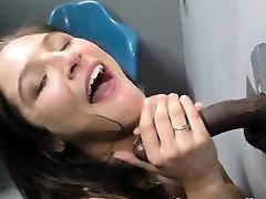 Teen deepthroats cock