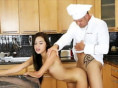 Top chef Zaya Cassidy loves cream costumer only her tight twat