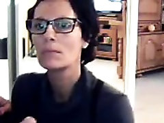 Short haired brunette mom flashes her lovely tits and sucks