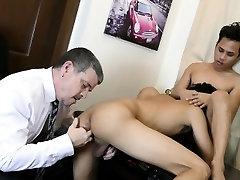 Asian twinks suck off dilf boss in office