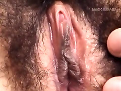 Hitomi Kiryuu Asian gets fingers in hairy cunt while