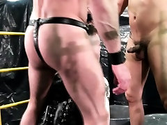 Leather stud ass creamed