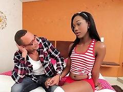 Ebony shemale got spunk on her ass