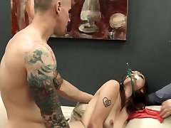 Submissive creamy hairy pussy masturbation copulating with anal whore