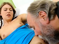 Curious young playgirl gives a oral-job to an old crazy guy
