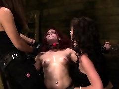 Bdsm slave rides vibrator