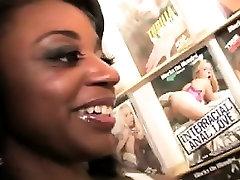 Hot ebony slut Gigi Kitty goes wild with 2 big white cocks