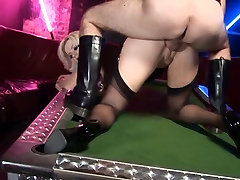 British slut gets fucked in black stockings