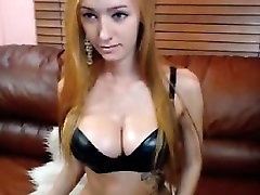 blonde with big tits masturbating with