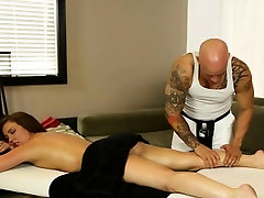 Sweet Maddy Oreilly sucks masseurs cock on chking penise table