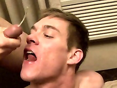 Teen twinks get a mouthful of big mature cock