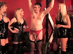Teasing topless maps party in latex flogging sub