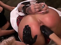 Crazy lesbian sucks huge black dildo