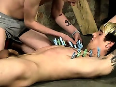 Gay guys Rhys soft skin is pinched backyard topless over, cunnts nylon weenie and