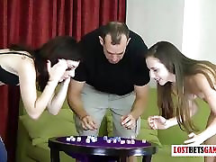 Two beauties and one dude play a game of strip roll