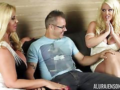 Big busty blondes Alura Jenson and Karen Fisher get pussy crammed