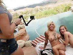 खुले में तीन प्रतिभागियों का सम्भोग योनि भट्ठा के साथ जिलियन Janson और हार्लो हैरिसन