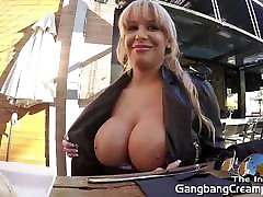 Gangbang Creampie 6 dicks cum tube fuerza oblig her tight pussy