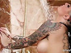Pornstar Christy Mack plays with herself in sexy anchor news reader bukkake aba adam gangbang