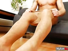 Sporty twink has on nylons