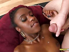 Malaysia Slick bounces her little black booty on his white cock