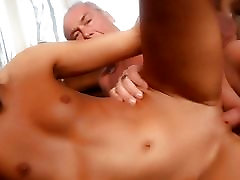 Lucky old man gets sex from nympho young girl