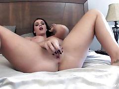 Alison Tyler masturbates with a glass dildo for you