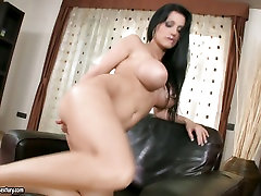 Aletta Ocean huge titty babe spidetboydy small on couch
