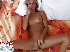 Big masturbation babe Carmen Cocks rubs her red pussy with her legs open