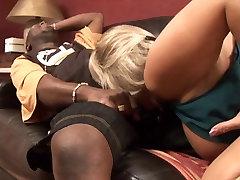 Hot blonde sucking big black cock
